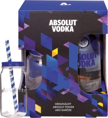 Absolut vodka 40% 0,70 L + pohár so slamkou